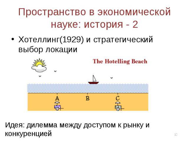 Хотеллинг(1929) и стратегический выбор локации Хотеллинг(1929) и стратегический выбор локации