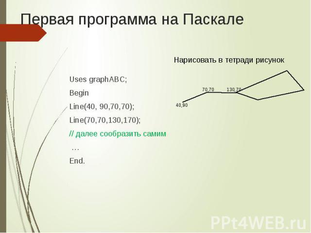 Первая программа на Паскале Uses graphABC; Begin Line(40, 90,70,70); Line(70,70,130,170); // далее сообразить самим … End.