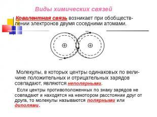 Ковалентная связь возникает при обобществ-лении электронов двумя соседними атома