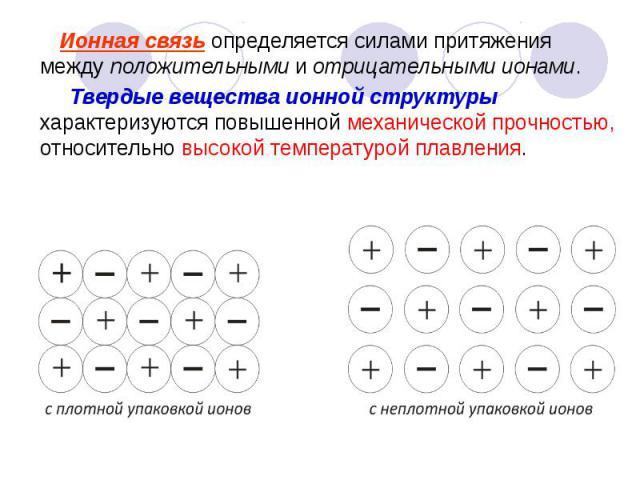 Ионная связь определяется силами притяжения между положительными и отрицательными ионами. Ионная связь определяется силами притяжения между положительными и отрицательными ионами. Твердые вещества ионной структуры характеризуются повышенной механиче…