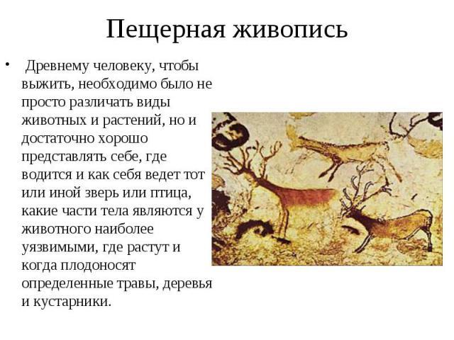 Древнему человеку, чтобы выжить, необходимо было не просто различать виды животных и растений, но и достаточно хорошо представлять себе, где водится и как себя ведет тот или иной зверь или птица, какие части тела являются у животного наиболее уязвим…