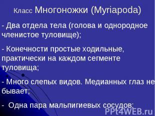 Класс Многоножки (Myriapoda)