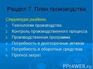 Раздел 7. План производства Структура раздела: Технология производства Контроль