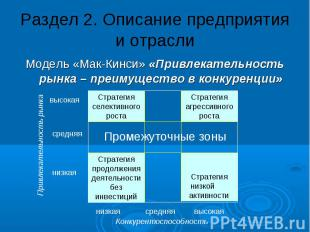 Раздел 2. Описание предприятия и отрасли Модель «Мак-Кинси» «Привлекательность р