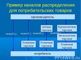 Пример каналов распределения для потребительских товаров