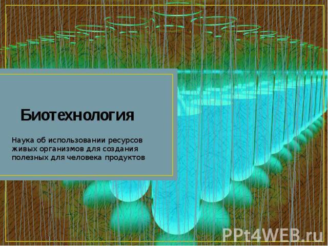 Биотехнология Наука об использовании ресурсов живых организмов для создания полезных для человека продуктов