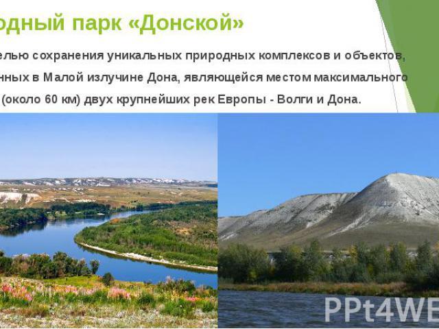Природный парк «Донской» Создан с целью сохранения уникальных природных комплексов и объектов, расположенных в Малой излучине Дона, являющейся местом максимального сближения (около 60 км) двух крупнейших рек Европы - Волги и Дона.