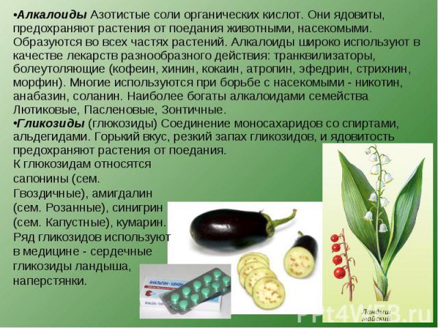Алкалоиды Азотистые соли органических кислот. Они ядовиты, предохраняют растения от поедания животными, насекомыми. Образуются во всех частях растений. Алкалоиды широко используют в качестве лекарств разнообразного действия: транквилизаторы, болеуто…