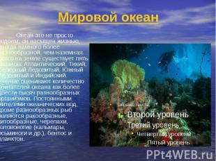Мировой океан Океан это не просто водоем, он насыщен жизнью, иногда намного боле
