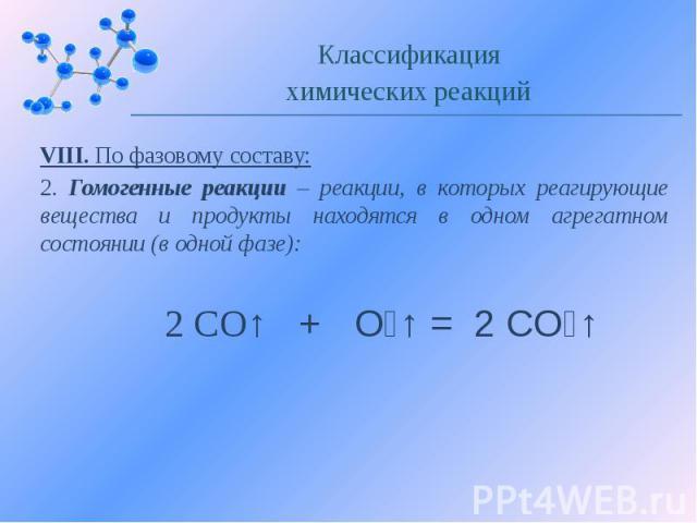 VIII. По фазовому составу: 2. Гомогенные реакции – реакции, в которых реагирующие вещества и продукты находятся в одном агрегатном состоянии (в одной фазе):