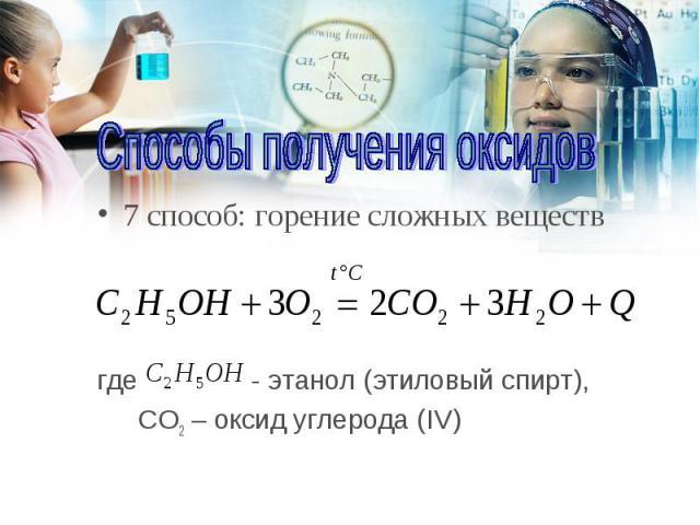7 способ: горение сложных веществ 7 способ: горение сложных веществ где - этанол (этиловый спирт), СO2 – оксид углерода (IV)