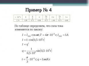 По таблице определяем, что сила тока изменяется по закону: По таблице определяем