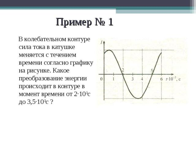 В колебательном контуре сила тока в катушке меняется с течением времени согласно графику на рисунке. Какое преобразование энергии происходит в контуре в момент времени от 2·10-3с до 3,5·10-3с ? В колебательном контуре сила тока в катушке меняется с …