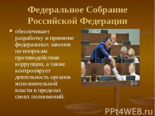 обеспечивает разработку и принятие федеральных законов по вопросам противодейств
