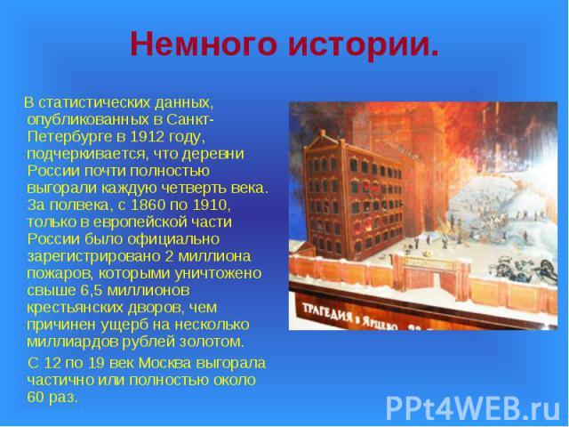 В статистических данных, опубликованных в Санкт-Петербурге в 1912 году, подчеркивается, что деревни России почти полностью выгорали каждую четверть века. За полвека, с 1860 по 1910, только в европейской части России было официально зарегистрировано …