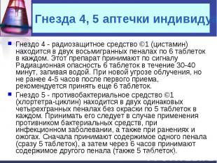 Гнездо 4 - радиозащитное средство ©1 (цистамин) находится в двух восьмигранных п