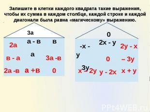 Запишите в клетки каждого квадрата такие выражения, чтобы их сумма в каждом стол