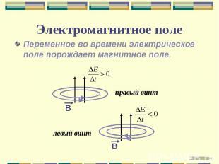 Электромагнитное поле Переменное во времени электрическое поле порождает магнитн