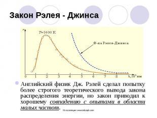Английский физик Дж. Рэлей сделал попытку более строгого теоретического вывода з