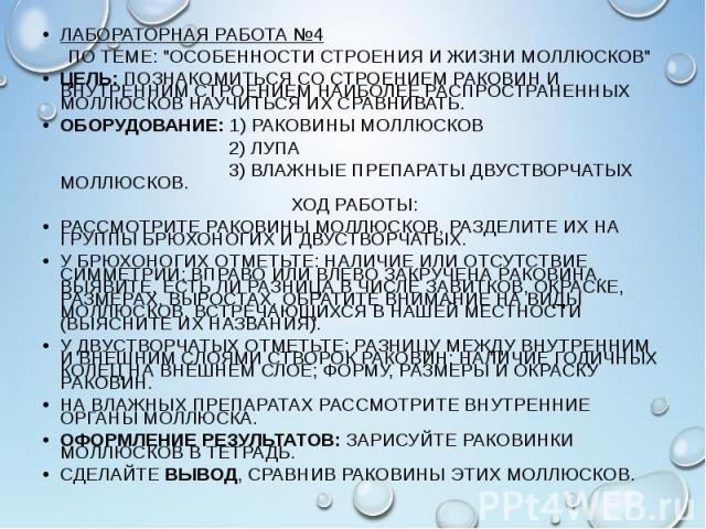 """ЛАБОРАТОРНАЯ РАБОТА №4 ЛАБОРАТОРНАЯ РАБОТА №4 ПО ТЕМЕ: """"ОСОБЕННОСТИ СТРОЕНИЯ И ЖИЗНИ МОЛЛЮСКОВ"""" ЦЕЛЬ: ПОЗНАКОМИТЬСЯ СО СТРОЕНИЕМ РАКОВИН И ВНУТРЕННИМ СТРОЕНИЕМ НАИБОЛЕЕ РАСПРОСТРАНЕННЫХ МОЛЛЮСКОВ НАУЧИТЬСЯ ИХ СРАВНИВАТЬ. ОБОРУДОВАНИЕ: 1) Р…"""