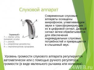Современные слуховые аппараты оснащены микрофоном, улавливающим звуки и трансфор