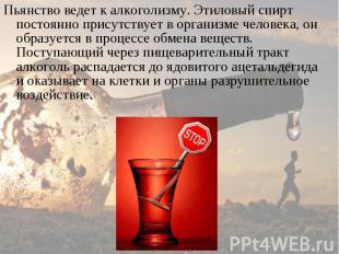 Пьянство ведет к алкоголизму. Этиловый спирт постоянно присутствует в организме
