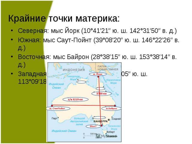 Северная: мыс Йорк (10°41′21″ ю. ш. 142°31′50″ в. д.) Северная: мыс Йорк (10°41′21″ ю. ш. 142°31′50″ в. д.) Южная: мыс Саут-Пойнт (39°08′20″ ю. ш. 146°22′26″ в. д.) Восточная: мыс Байрон (28°38′15″ ю. ш. 153°38′14″ в. д.) Западная: мыс Стип-Пойнт (2…
