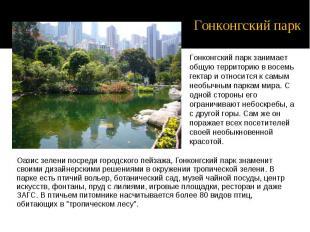 Оазис зелени посреди городского пейзажа, Гонконгский парк знаменит своими дизайн