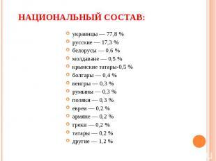 украинцы — 77,8 % русские — 17,3 % белорусы — 0,6 % молдаване — 0,5 % крымские т