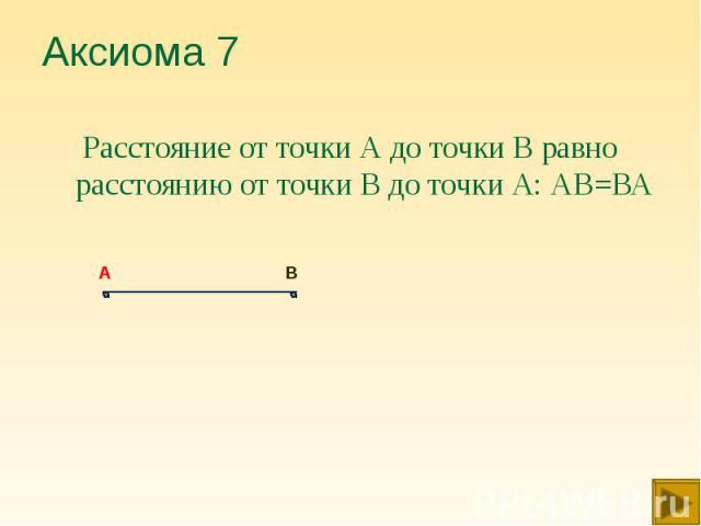 Расстояние от точки А до точки В равно расстоянию от точки В до точки А: АВ=ВА Расстояние от точки А до точки В равно расстоянию от точки В до точки А: АВ=ВА