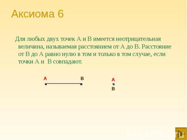 Для любых двух точек А и В имеется неотрицательная величина, называемая расстоянием от А до В. Расстояние от В до А равно нулю в том и только в том случае, если точки А и В совпадают. Для любых двух точек А и В имеется неотрицательная величина, назы…