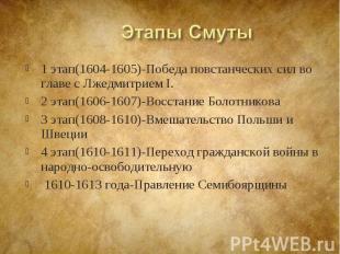1 этап(1604-1605)-Победа повстанческих сил во главе с Лжедмитрием I. 1 этап(1604