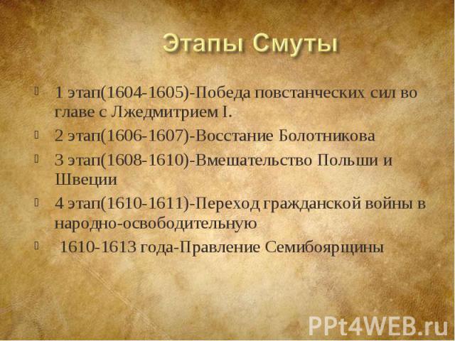 1 этап(1604-1605)-Победа повстанческих сил во главе с Лжедмитрием I. 1 этап(1604-1605)-Победа повстанческих сил во главе с Лжедмитрием I. 2 этап(1606-1607)-Восстание Болотникова 3 этап(1608-1610)-Вмешательство Польши и Швеции 4 этап(1610-1611)-Перех…