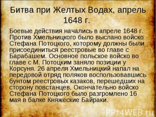 Боевые действия начались в апреле 1648 г. Против Хмельницкого было выслано войск