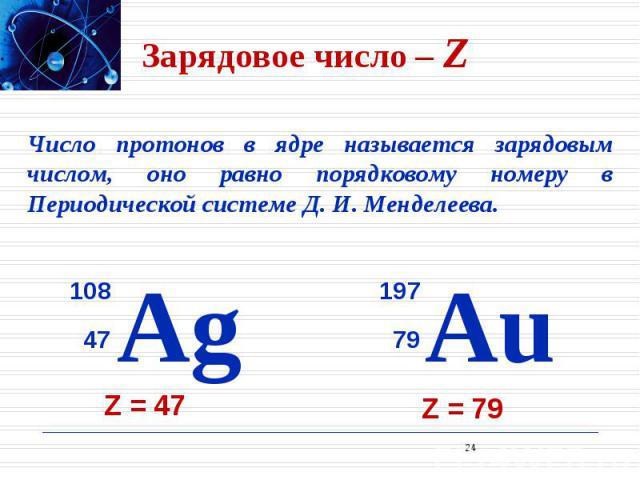 Зарядовое число – Z