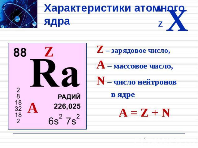 Характеристики атомного ядра