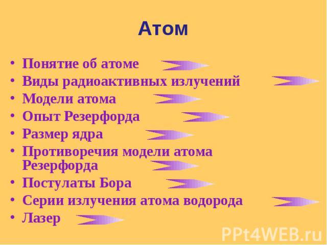 Понятие об атоме Понятие об атоме Виды радиоактивных излучений Модели атома Опыт Резерфорда Размер ядра Противоречия модели атома Резерфорда Постулаты Бора Серии излучения атома водорода Лазер