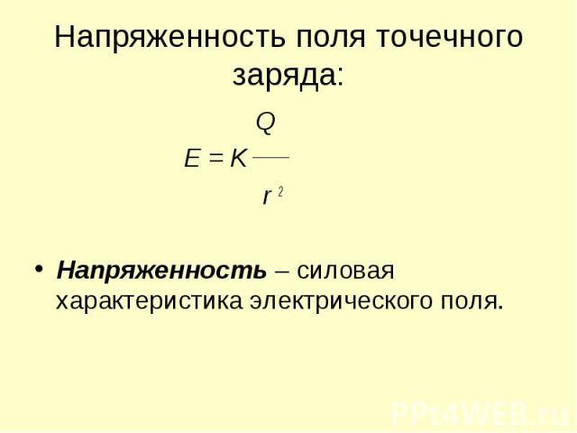 Q Q E = K r 2 Напряженность – силовая характеристика электрического поля.