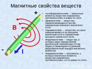Антиферромагнетики — магнитные моменты вещества направлены противоположно и равн
