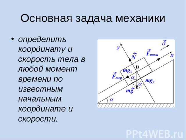 определить координату и скорость тела в любой момент времени по известным начальным координате и скорости. определить координату и скорость тела в любой момент времени по известным начальным координате и скорости.
