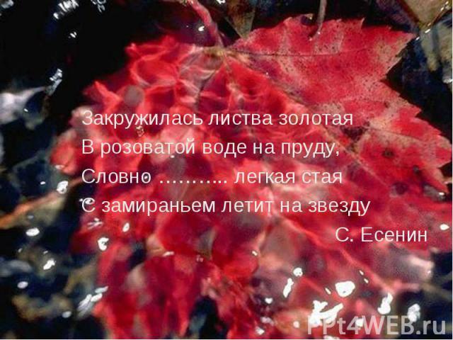 Закружилась листва золотая Закружилась листва золотая В розоватой воде на пруду, Словно ……….. легкая стая С замираньем летит на звезду С. Есенин