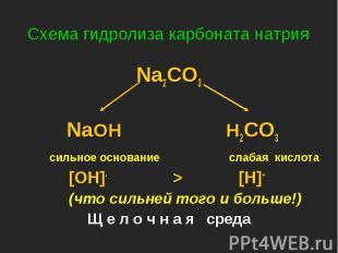 Na2CO3 Na2CO3 NaOH H2CO3 сильное основание слабая кислота [OH]- > [H]+ (что с