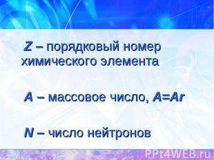 Z – порядковый номер химического элемента Z – порядковый номер химического элеме