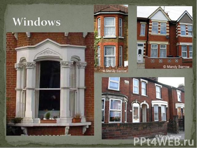 Bay Windows (windows that projects, normally with flat front and slant sides) were very fashionable in Victorian times. Typical Victorian bay windows are three sided. The ground floor bay window often had its own slate roof, or it might continue int…