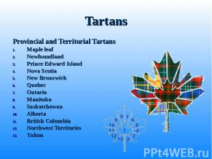 Provincial and Territorial Tartans Provincial and Territorial Tartans Maple leaf