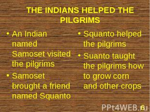 An Indian named Samoset visited the pilgrims An Indian named Samoset visited the