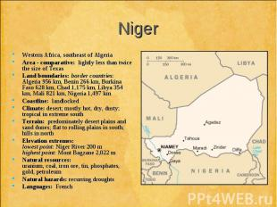 Western Africa, southeast of Algeria Western Africa, southeast of Algeria Area -