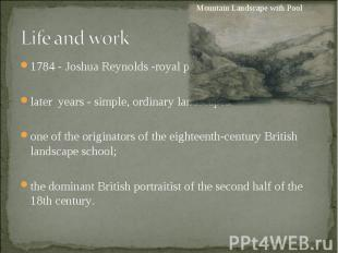 1784 - Joshua Reynolds -royal painter; 1784 - Joshua Reynolds -royal painter; la