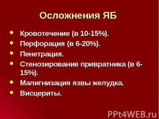 Кровотечение (в 10-15%). Кровотечение (в 10-15%). Перфорация (в 6-20%). Пенетрац