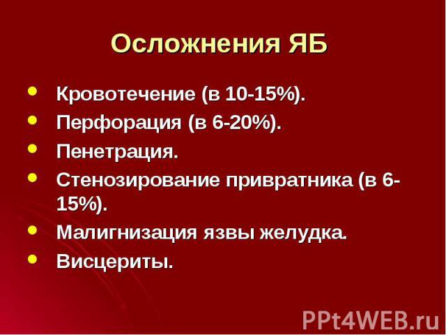 Кровотечение (в 10-15%). Кровотечение (в 10-15%). Перфорация (в 6-20%). Пенетрация. Стенозирование привратника (в 6-15%). Малигнизация язвы желудка. Висцериты.